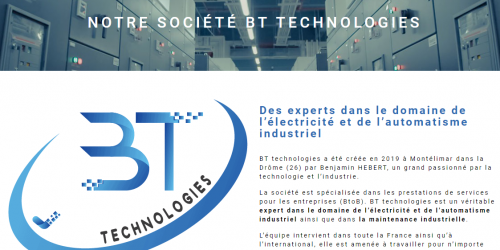 Illustration Création du site vitrine administrable : BT technologies