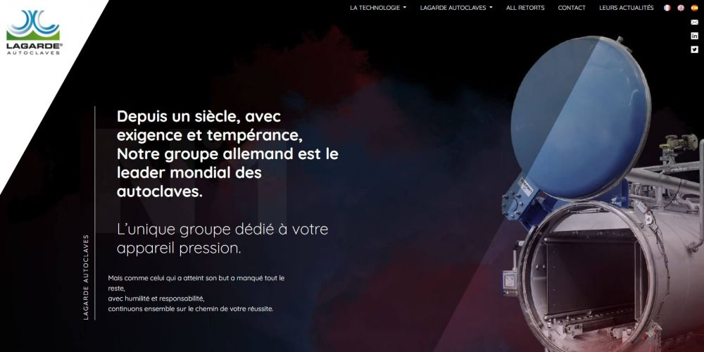 Page d'accueil Site vitrine