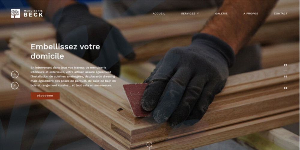 Page d'accueil site vitrine non administrable
